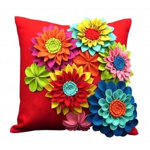 pop up felt floral pillow