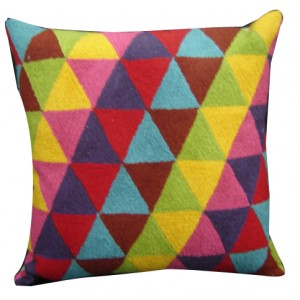 bright triangles pillow