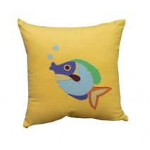 fish blowing bubbles pillow