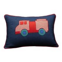 fire engine denim pillow