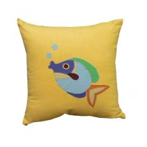 fish blowing bubbles pillow