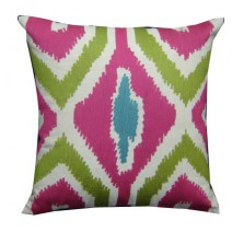 bright ikat embroidery pillow