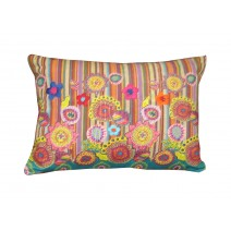 flowers and stripes pillow