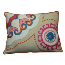 suzani  fray pillow -pink