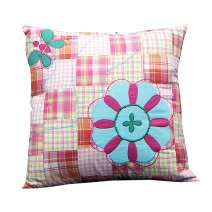 think pink  patchwork floral pillow