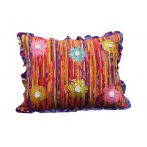 sequin floral pillow