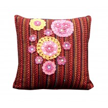 crochet floral stripe pillow